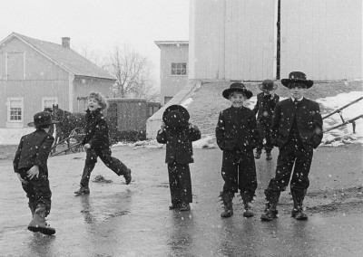 6. Amish Children Playing in Snow, Lancaster, PA, 1969